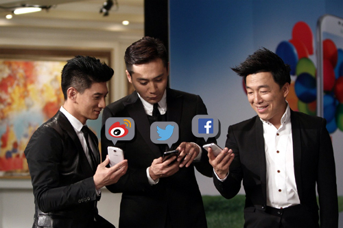Nicky Wu, Liu Ye, Huang Bo showing off social media while promoting cell phones